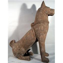 A SUPERB AND RARE HAN DYNASTY CERAMIC DOG,c. 200B