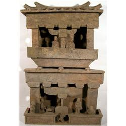 A SUPERB AND RARE HAN DYNASTY CERAMIC SOUL HOUSE,