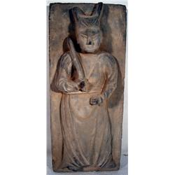 A SUPERB SIX DYNASTIES - EARLY TANG CERAMIC TILE,