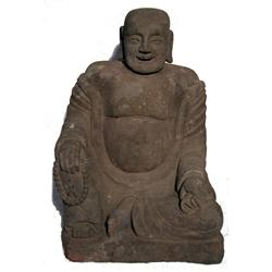 A SPLENDID MING DYNASTY SCULPTURE OF LAUGHING BUD