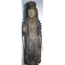 A SUPERB LATE CHING DYNASTY SCULPTURE OF THE GODD