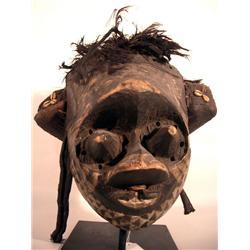 A RARE KUBA MASK (pwoon itok),of wood with fibre