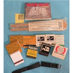 ASSORTED ITEMS INCLUDING VINTAGE MATCHES, BEAN SPOON, BLACK HILLS PICTURE BOOKLET, STAMP AND WATCHBA
