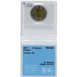 TWO DOLLAR COIN (CANADA) *2017* (CCCS GRADED---MS60)