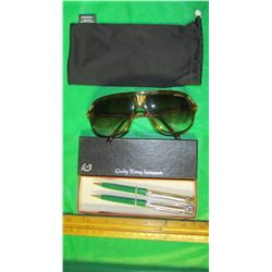 LOT INCLUDING 2 VINTAGE COOP PENS AND A PAIR OF CARRERA SUNGLASSES WITH POUCH