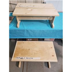 """CHILDS TABLE 32X17X20"""" C/W TWO BENCHES 32X10X12"""""""
