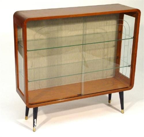 1960u0027s Teak China Cabinet Fitted Two Cut Glass Sliding Doors Enclosing Two  Shelves, Label To The Int