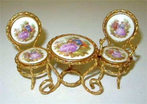 limoges france miniature porcelain table 2 chai. Black Bedroom Furniture Sets. Home Design Ideas