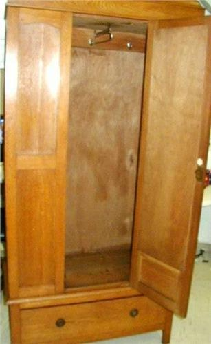 Antique Wardrobe Armoire W Beveled Mirror Door