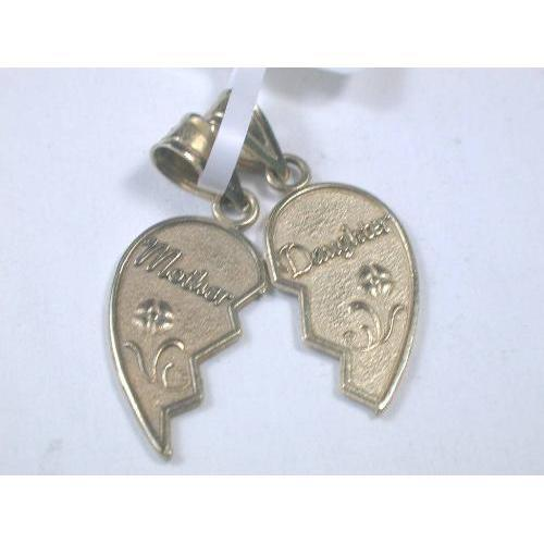 Pendant mother and daughter broken heart pendant 14k aloadofball Choice Image
