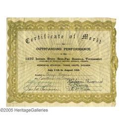 Mordecai  3 Finger  Brown Signed Certificate PSA 1937 Mordecai  Three Finger  Brown Signed Certifica