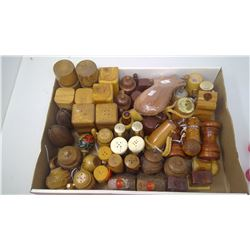 LOT OF WOODEN SALT & PEPPER SHAKERS