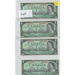 One set of 4 1967 in a row $1.00 bills