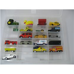 DISPLAY BOX with Matchbox,  Ertl and other Toy Cars - including 1979 Grand Torino - Starsky & Hutch