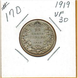 1919 CANADIAN 25 CENT COIN
