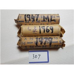 1947 ML, 1964, 1979 FULL ROLLS OF 5 CENT CANADA COINS