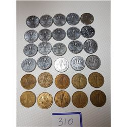 5 CENT CANADA COINS (10-1943, 10-1944, 10-1945)