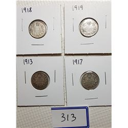 10 CENT CANADA COINS (1913, 1917, 1918, 1919)