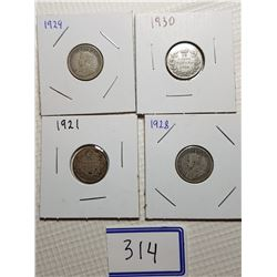 10 CENT CANADA COINS (1921, 1928, 1929, 1930)