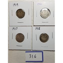 10 CENT CANADA COINS (1917, 1918, 1919, 1921)