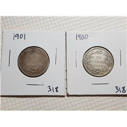 25 CENT CANADA COINS(1900 AND 1901)