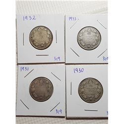 25 CENT CANADA COINS (1930, 1931, 1932, 1933)