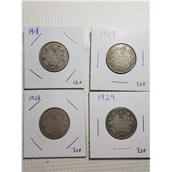 25 CENT CANADA COINS (1918, 1919, 1928, 1929)