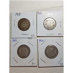25 CENT CANADA COINS (1910, 1912, 1914, 1916)