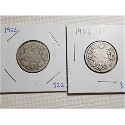 25 CENT CANADA COINS (1902 & 1902 H)
