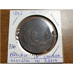 1842 PENNY (PROVINCE OF CANADA, MONTREAL ON RIBBON)