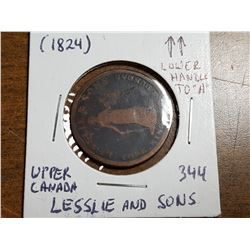 1824 UPPER CANADA LESSLIE AND SONS HALF PENNY