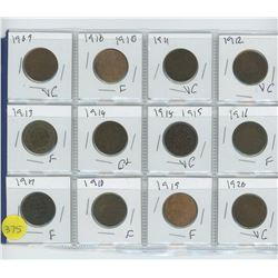 LOT OF TWELVE ONE CENTS 1909-1920