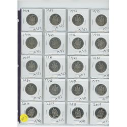 LOT OF TWENTY FIFTY CENT COINS (VARIOUS YEARS) 1918-2019