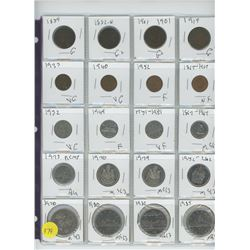 LOT OF TWENTY ASSORTED COINS (VARIOUS YEARS) 1859-1985
