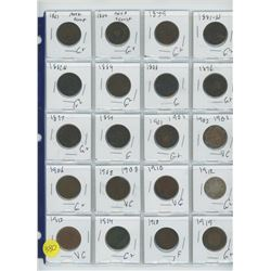LOT OF TWENTY COINS (19 ONE CENT, 1 25 CENTS) VARIOUS YEARS 1861-1919
