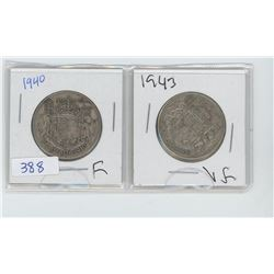 TWO 1940 50 CENT PIECES