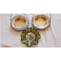 2 GOLDEN MAINZE CANDY DISHES AND CARNIVAL DISH