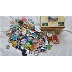 LOT OF BUTTONS, OPENERS AND PATCHES
