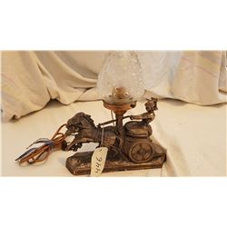 1930'S ANTIQUE LAMP, ROMAN HORSE AND CHARIOT