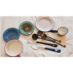 ENAMEL WARE AND 3 OLD CAST SERVING SPOONS