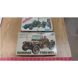 2 ARMY MODELS IN BOX AURORA ESCI PRESTIGE SERIES 1/72 SCALE, M3 ARMOURED SCOUT CAR IN PLASTIC WITH I