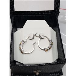 SILVER NATURAL CITRINE CZ EARRINGS (MSRP $120)