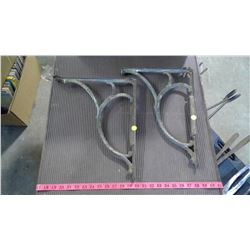 "TWO CAST IRON WALL BRACKETS - 16"" X 13"" (DAMAGE ON 1 END)"