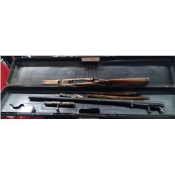 12 GAUGE SHOTGUN COMES WITH CLIP AND GUN CASE (COMPLETE, NEEDS STOCK REPAIRED)