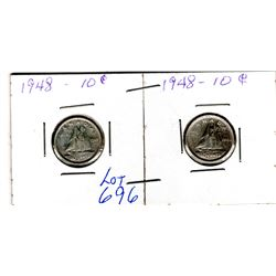 TWO LOW MINTAGE 1948 10 CENT PIECES