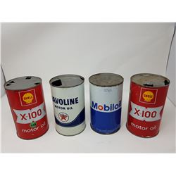 LOT OF 4 VINTAGE OIL CANS