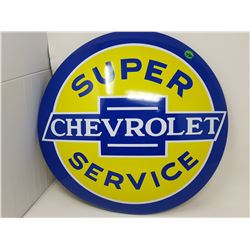 """SUPER CHEVROLET SERVICE TIN DOMED SIGN (REPRODUCTION) *16""""*"""
