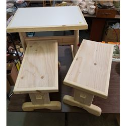 """CHILDRENS TABLE WITH TWO BENCHES (21"""" X 14.5"""" X 20"""" -- 10"""" X 18.5"""" X 12"""")"""