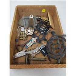 LOT OF CAST IRON ITEMS, BOTTLE OPENERS AND LIGHTERS, ETC.