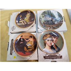 LOT OF 4 DECORATIVE PLATES (3 NORMAN ROCKWELL, 1 TED XARAS)